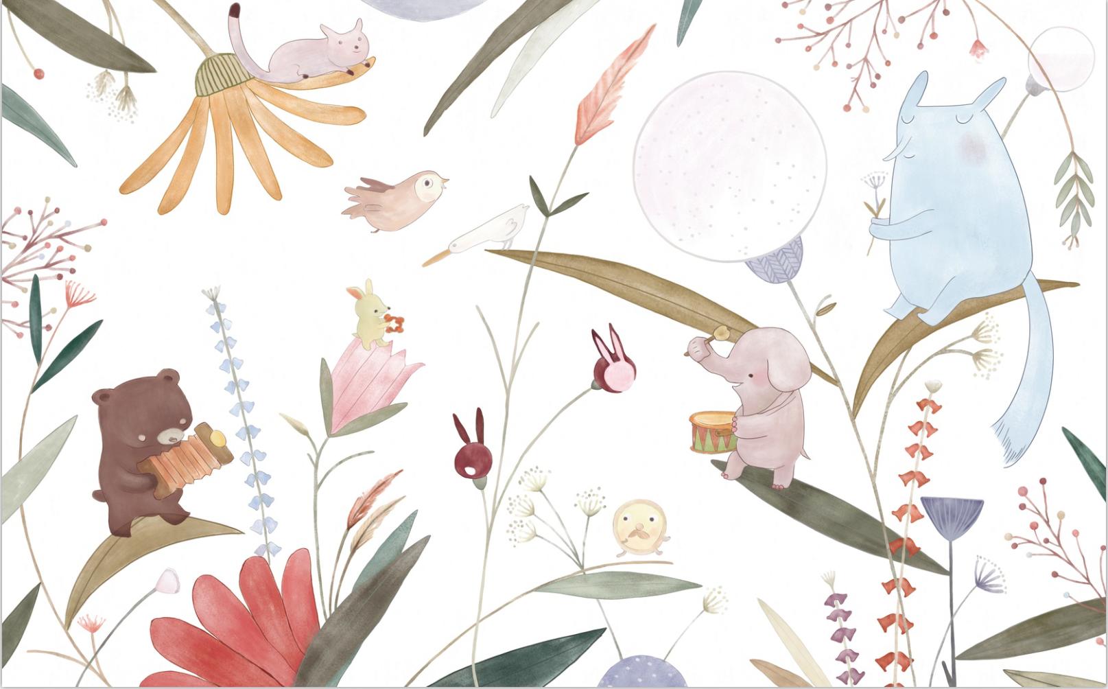 思舍儿童房背景墙纸卡通个性壁纸艺术创意公主房女孩卧室壁画动物