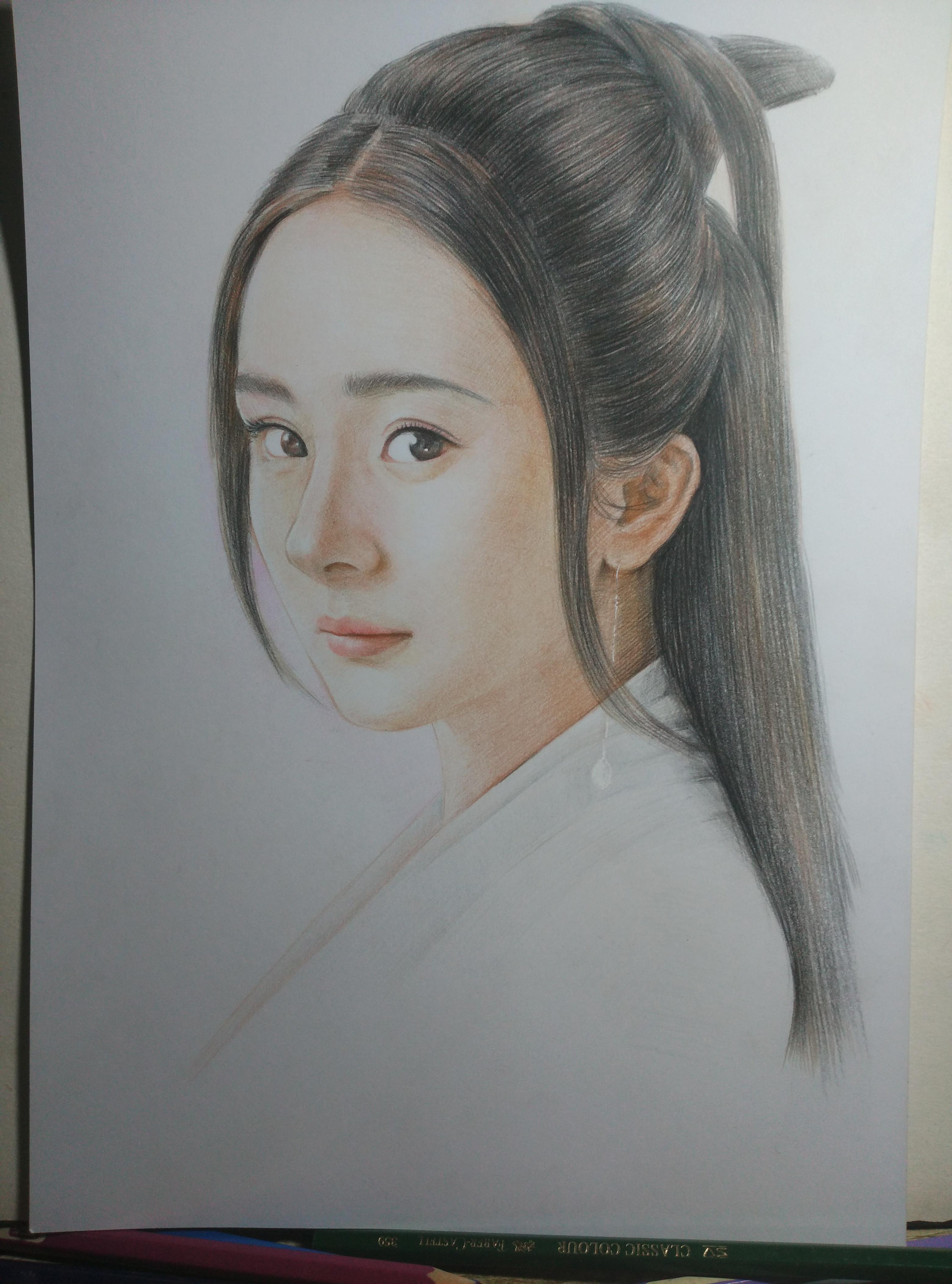 杨幂白浅铅笔手绘