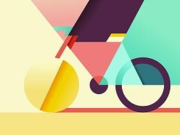 极简几何插画-色与块的组合