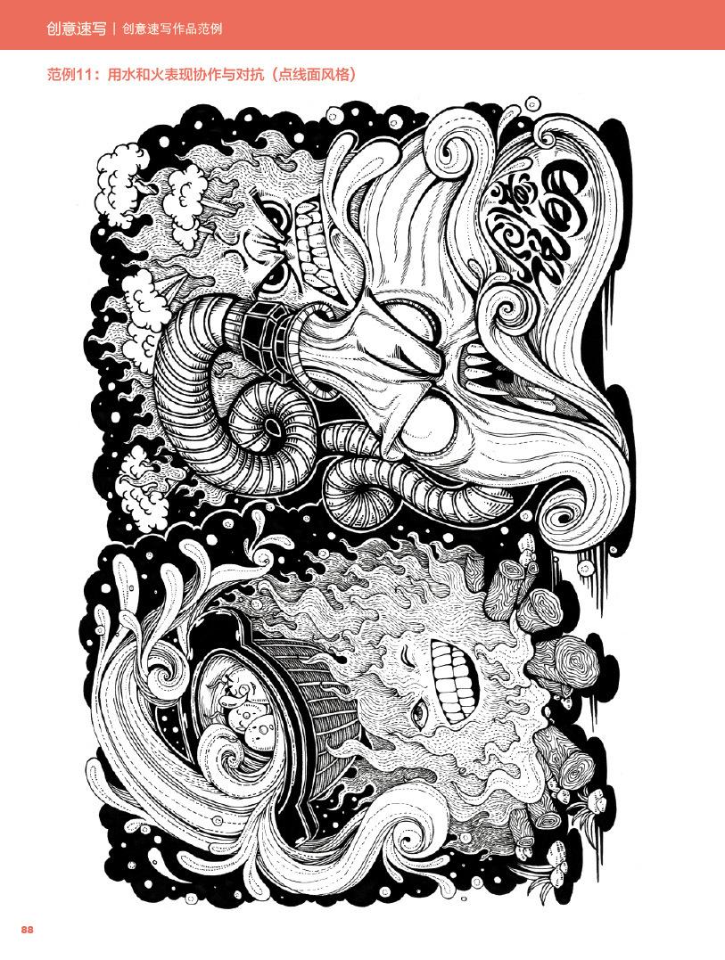 我去年出版的书籍《创意速写&装饰画》部分内页图片