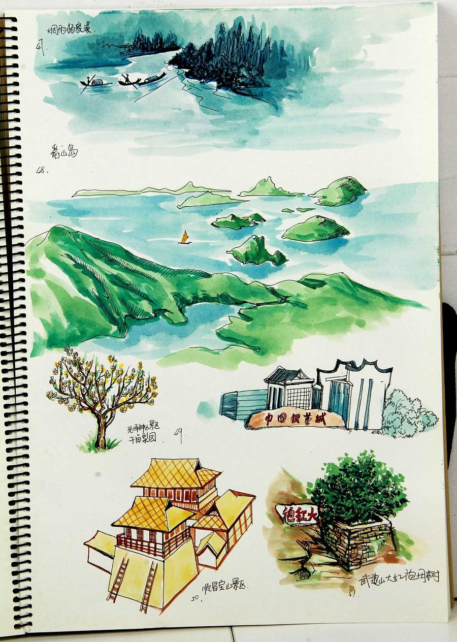 福建省内高铁旅游手绘地图创作绘制