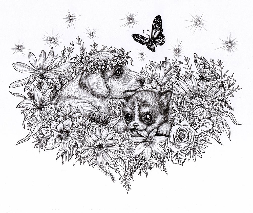 《送你一个春天》彩铅手绘