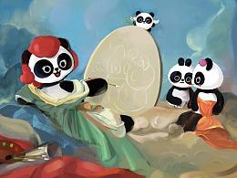 巴布熊猫-油画cos