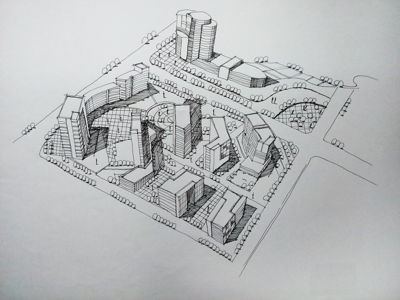规划类手绘图|空间|建筑设计|鹿小尤 - 原创作品