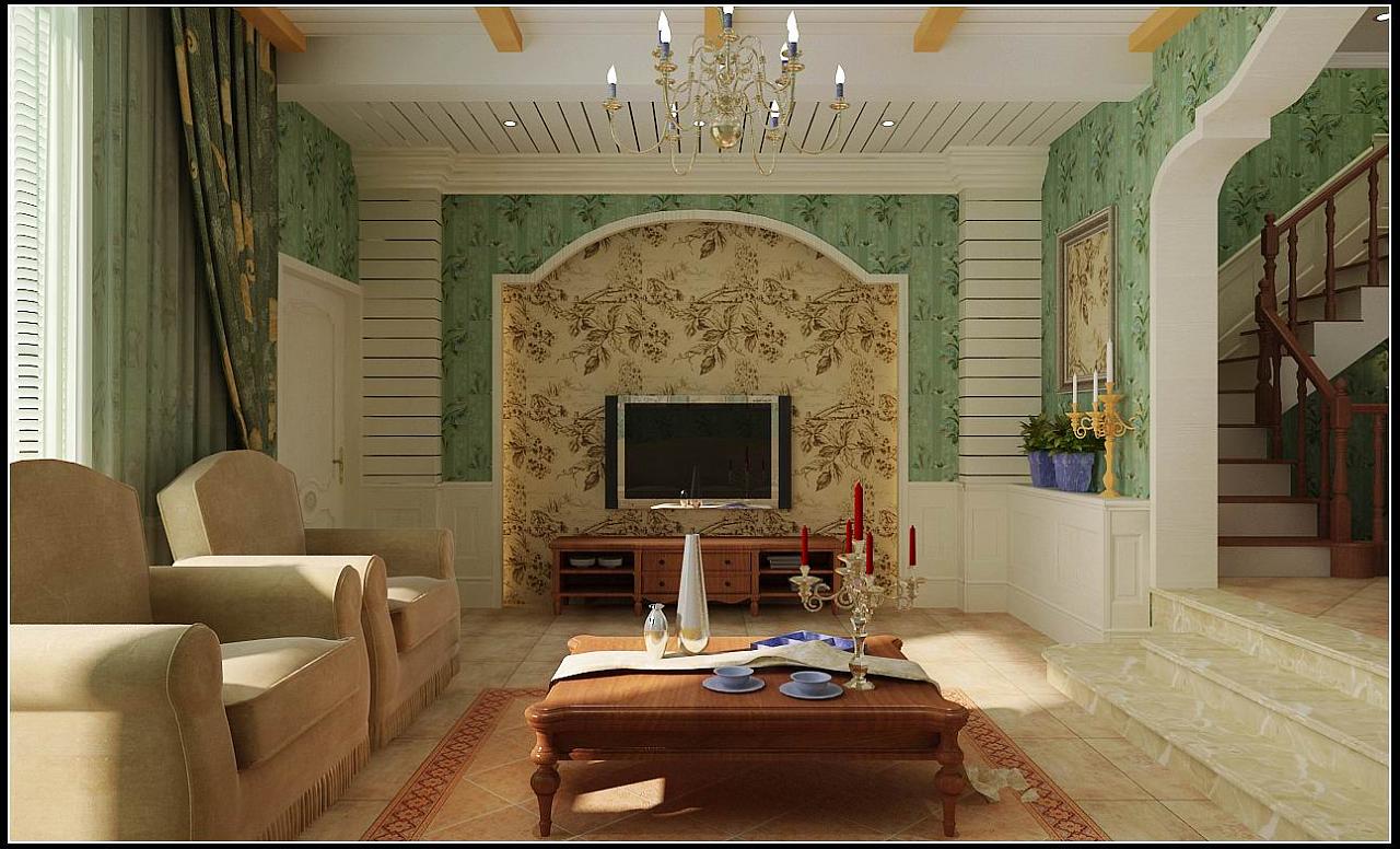 江南新城田园a户型401平美式别墅风格装修效果图别墅理念欧式图片