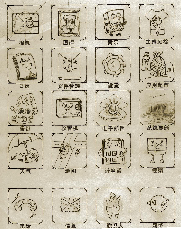 手绘图标稿
