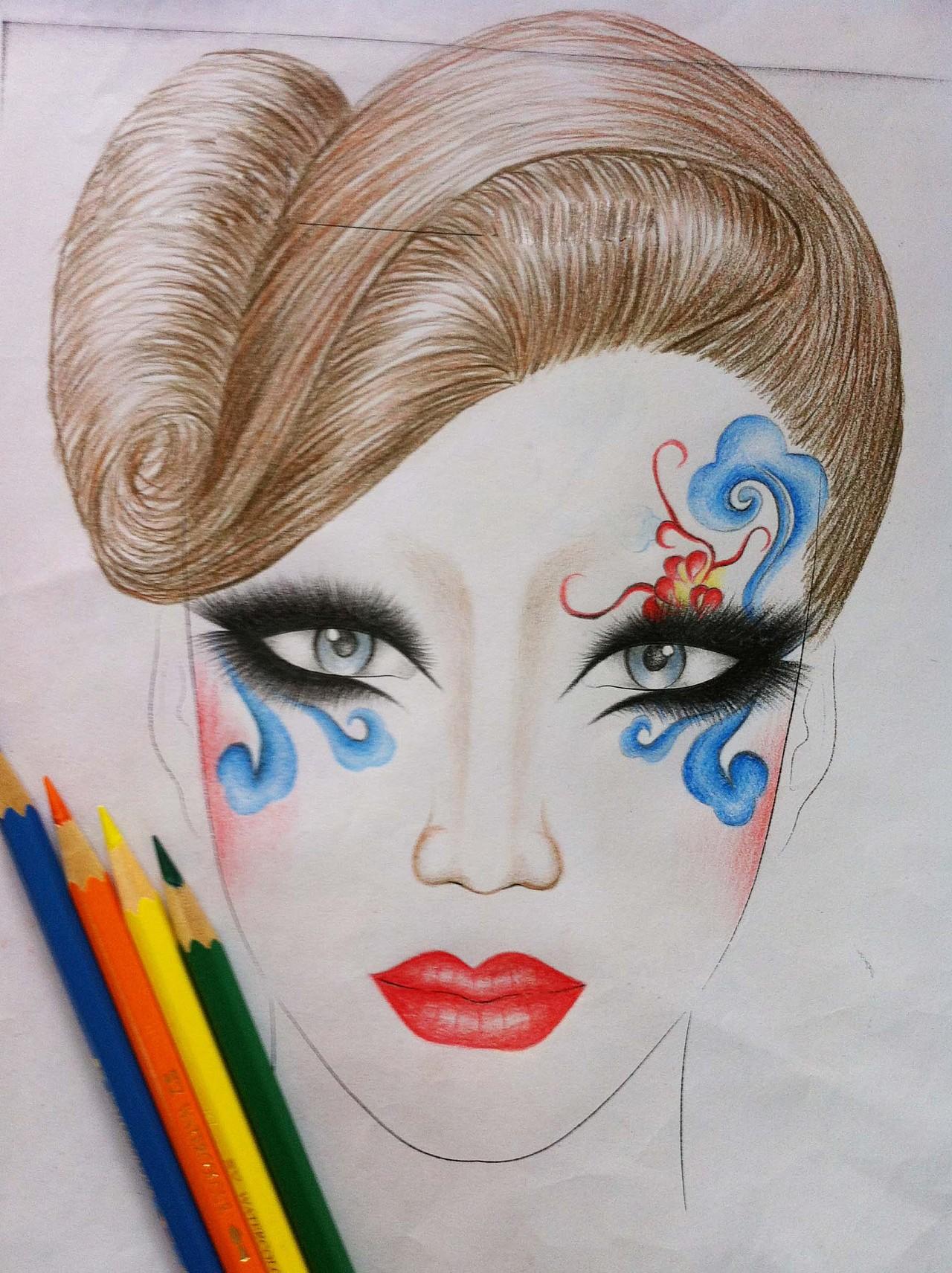 我的妆面手稿美人图|纯艺术|彩铅|时尚彩妆小鱼老师图片