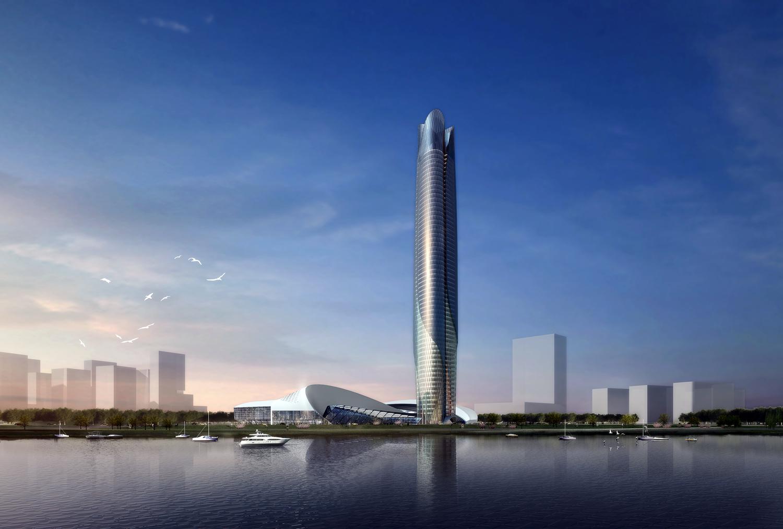 整个结构采用了钢结构,外面建筑材料选择玻璃及穿孔铝板.