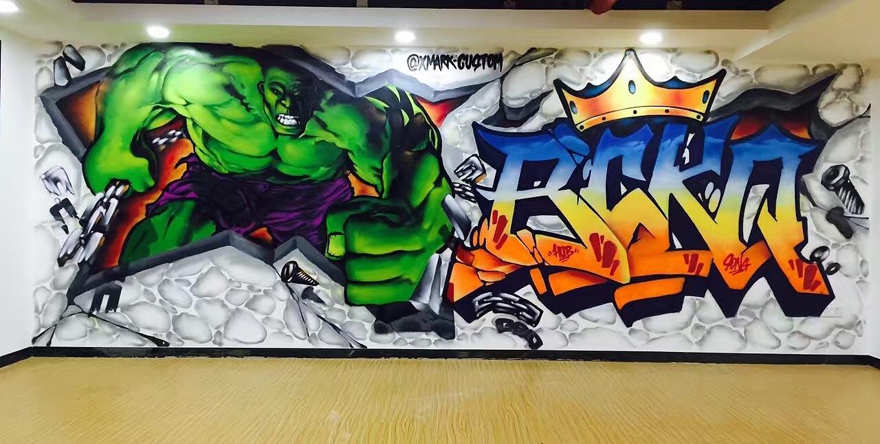 街头健身手绘艺术图