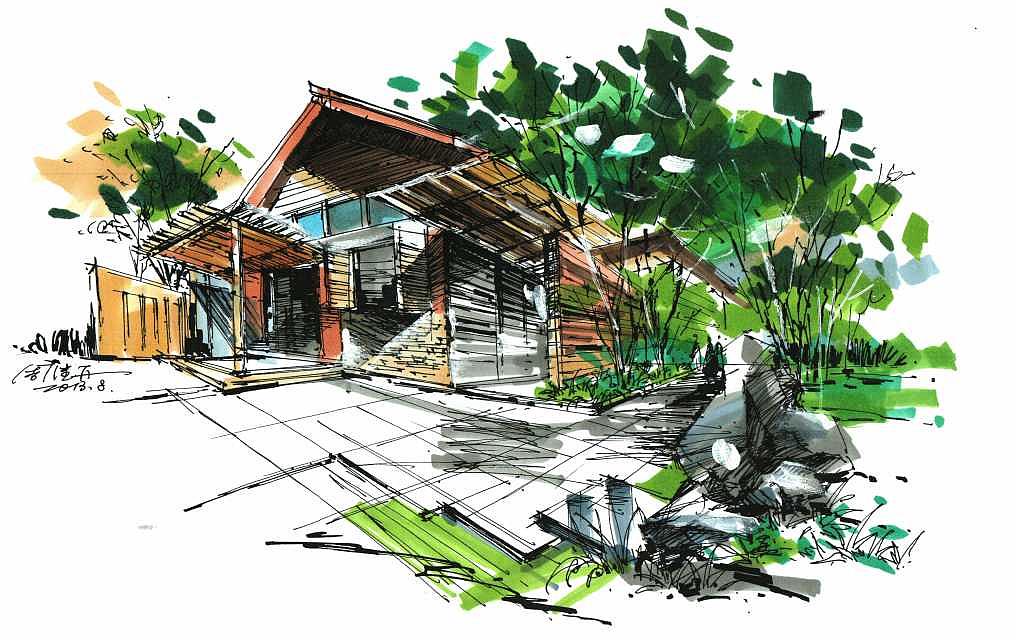 建筑上色,手绘画,建筑家装,手绘效果图,马克笔手绘,建筑设计,室内设计图片设计师v家装多少钱图片