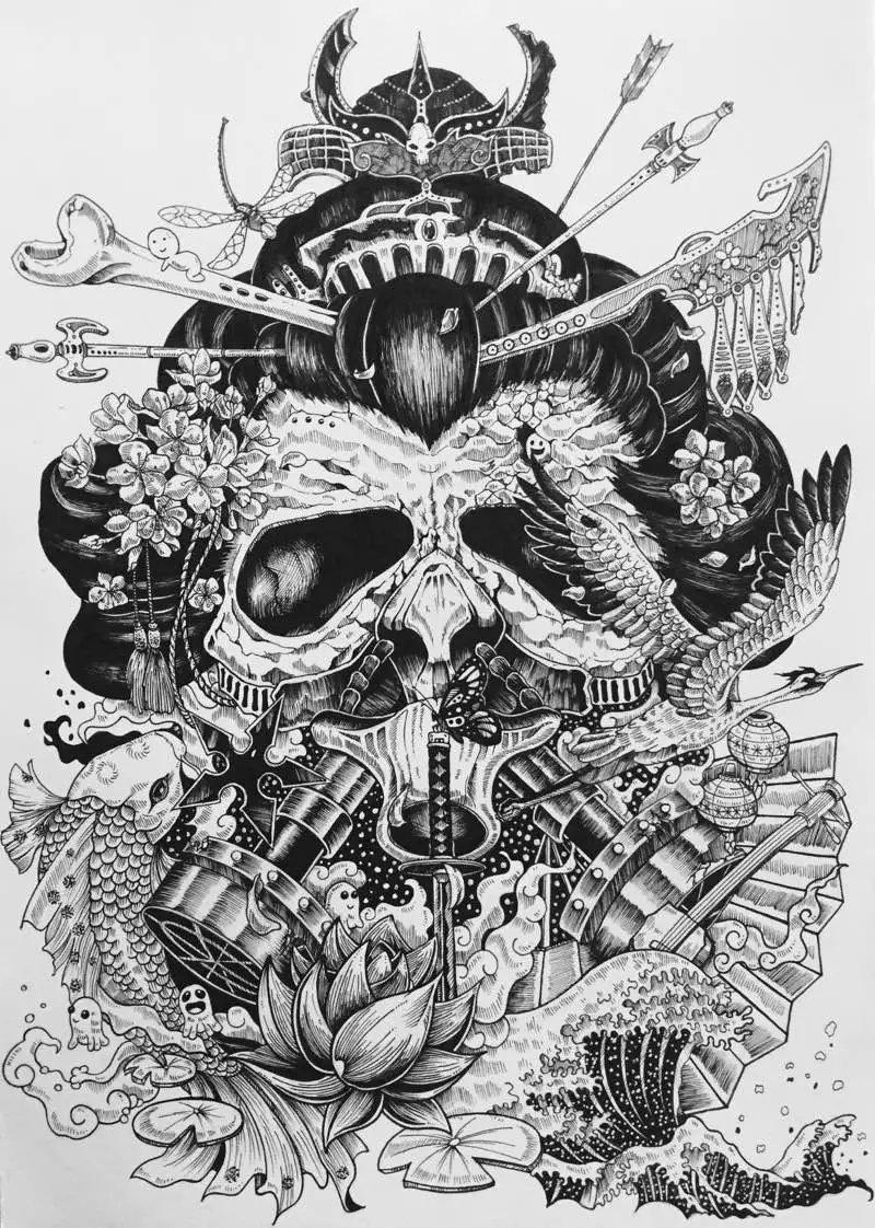 针管笔 黑白手绘|绘画习作|插画|以津真天 - 原创设计