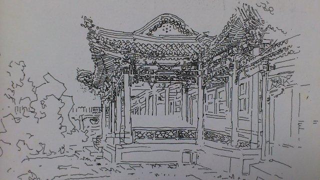 古典园林钢笔手绘
