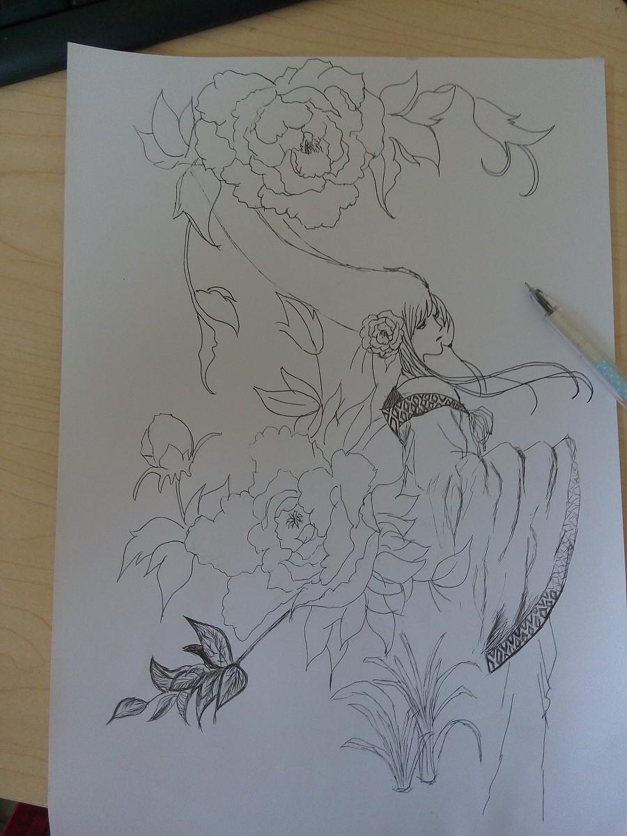 手绘古风|插画习作|插画|刘贵妃 - 原创设计作品
