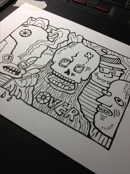 mq 骷髅 彩色铅笔手绘图案