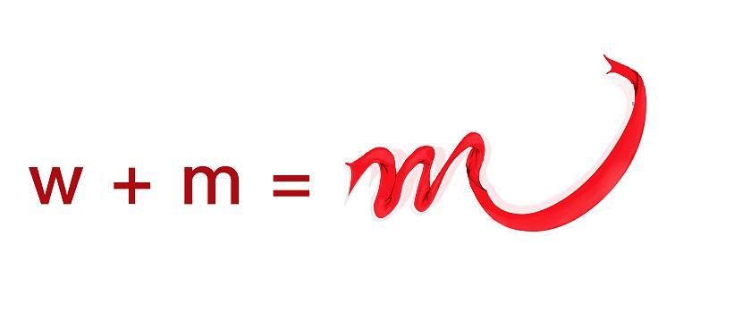 字母w和m变形成为一体成为一条红绫