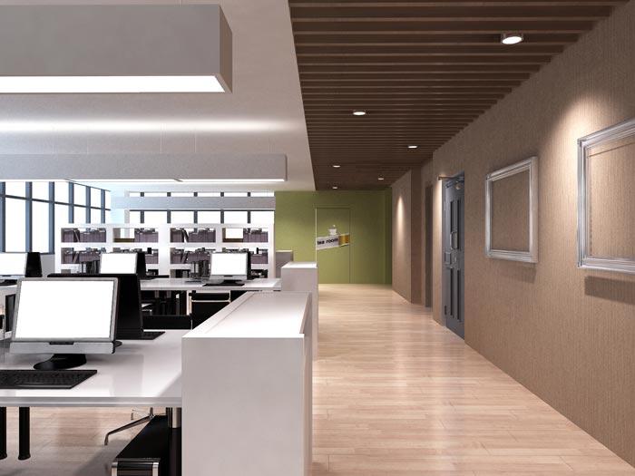 字体科技办公室装修设计材料效果图|室内天正设计院都用的什么案例图片