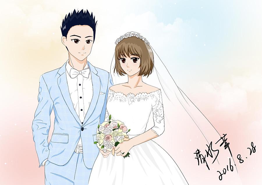 手绘婚纱|肖像漫画|动漫|qsxz1228 - 原创设计作品