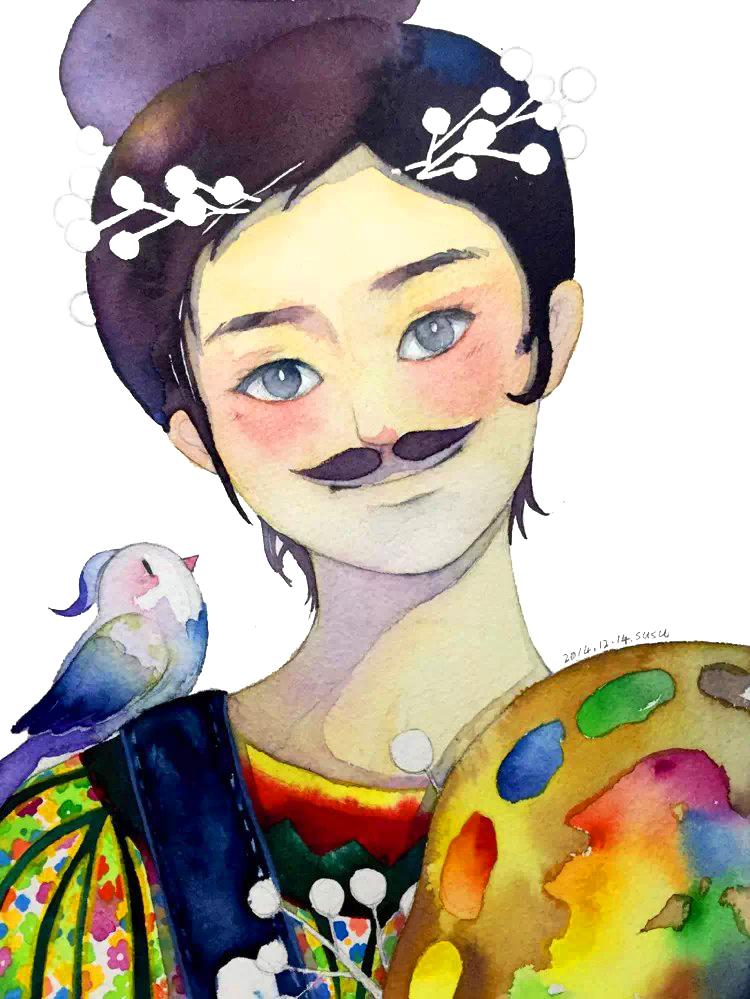 水彩创作-女孩系列|动漫|肖像漫画|宿宿 - 原创作品