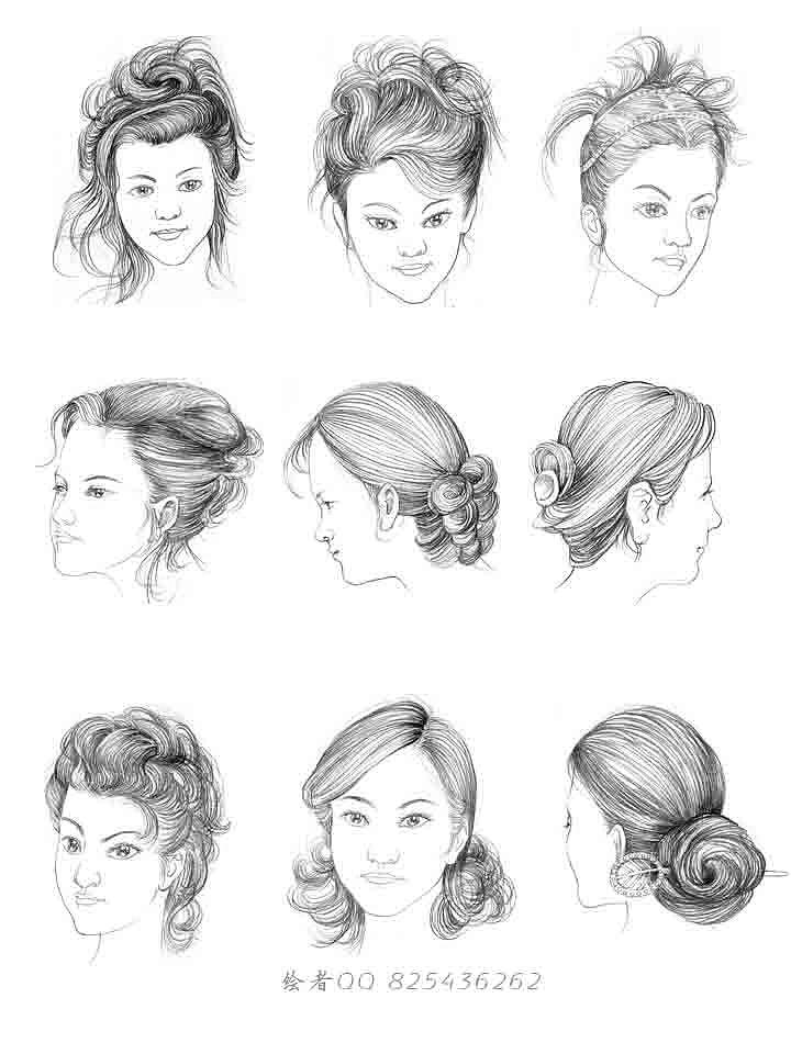 铅笔绘制 发型 手绘发型|插画|商业插画|海边的村长