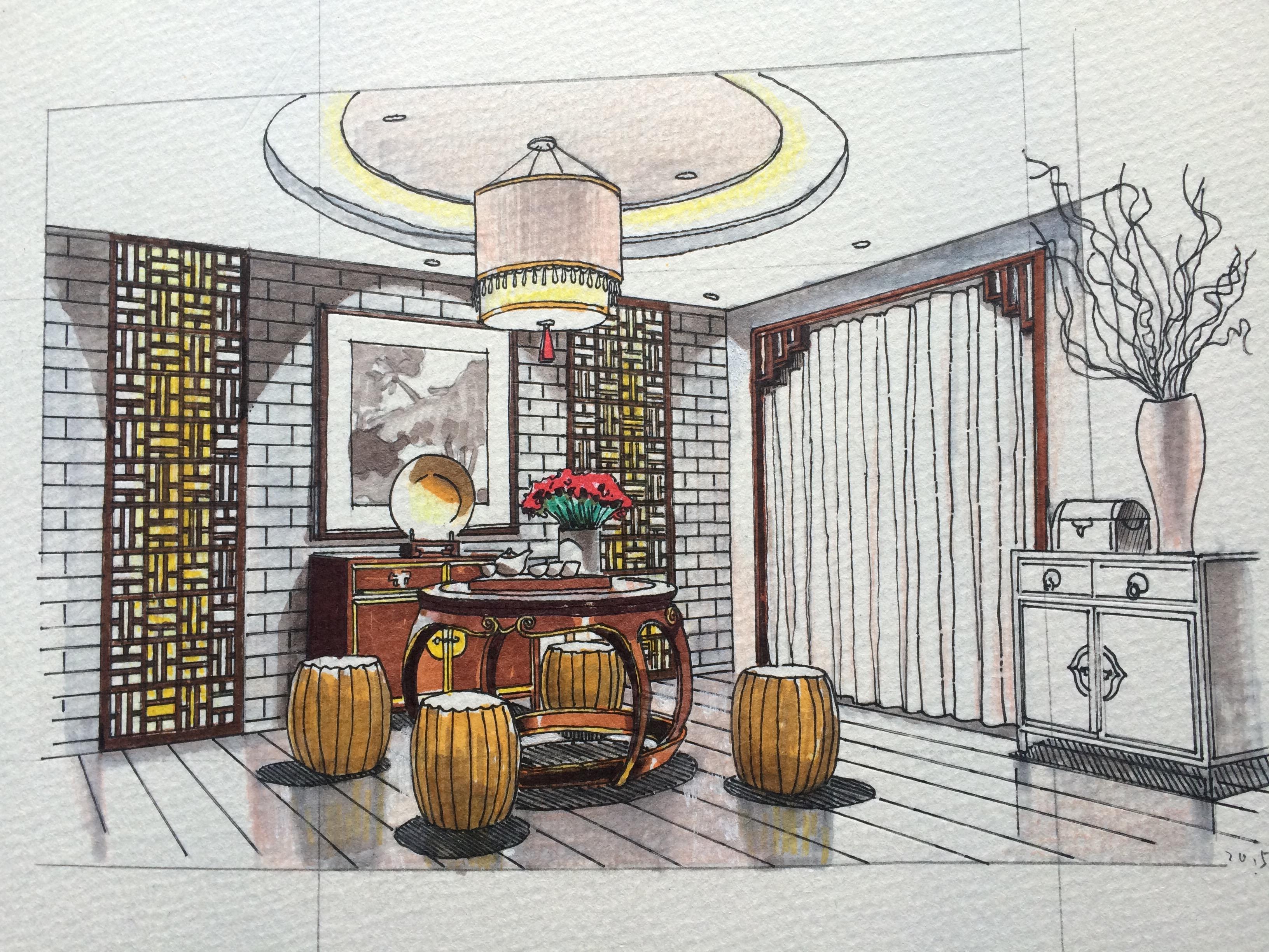 中式风格|空间|室内设计|彩色的斑马 - 原创作品