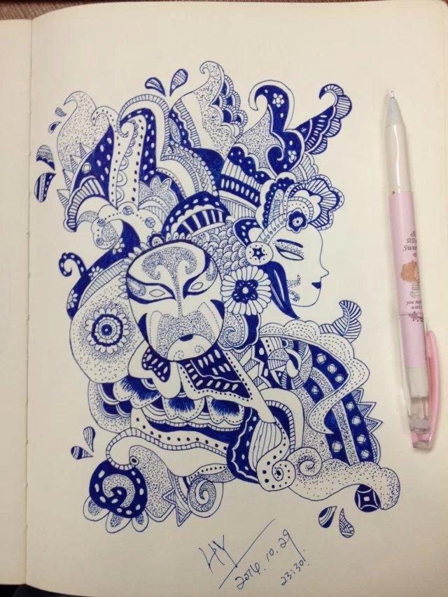 蓝色水笔画
