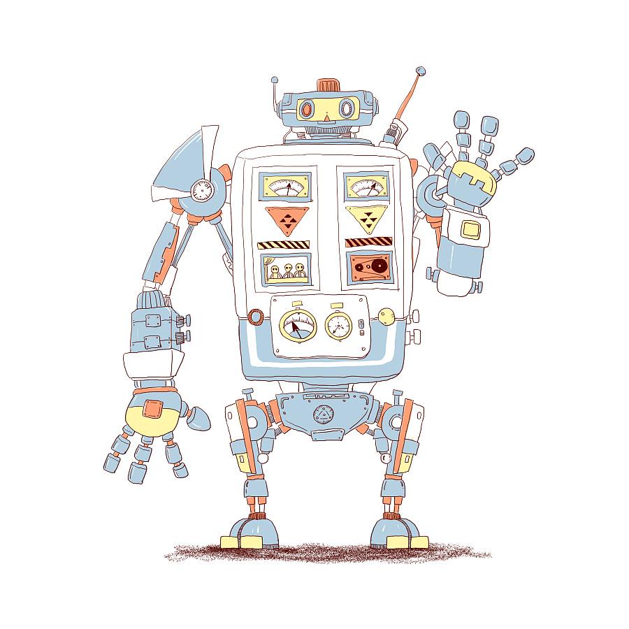 机器人手绘插画,少量颜色表现.