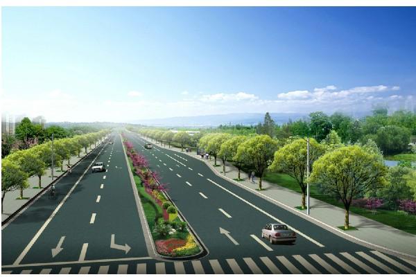 双向六车道道路景观效果图设计