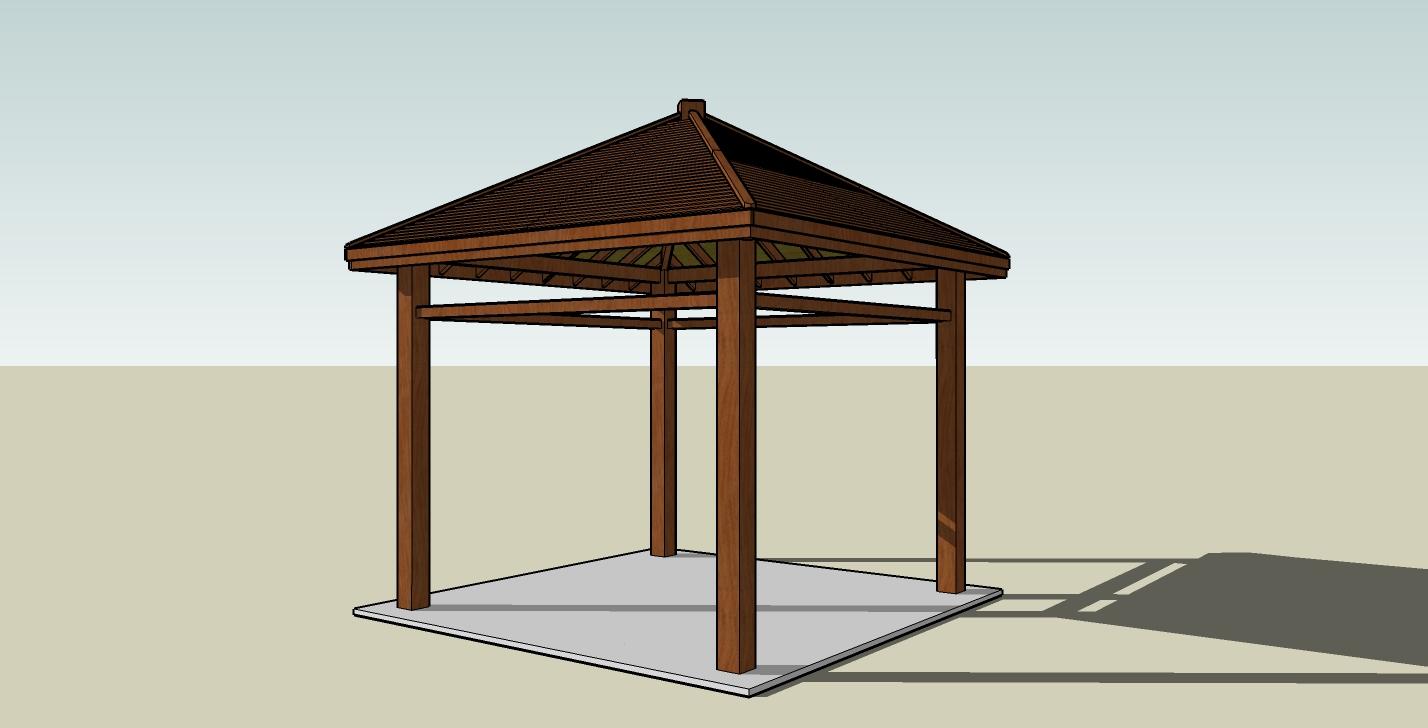 木结构凉亭|三维|建筑/空间|alberthahaha - 原创作品
