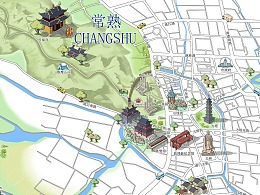 手绘地图-常熟市