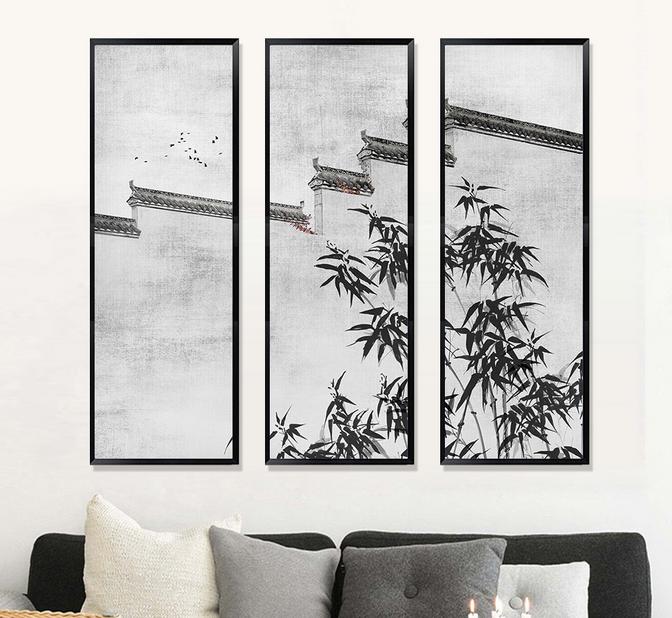 新中式装饰画-中国风建筑屋檐水墨竹子图片