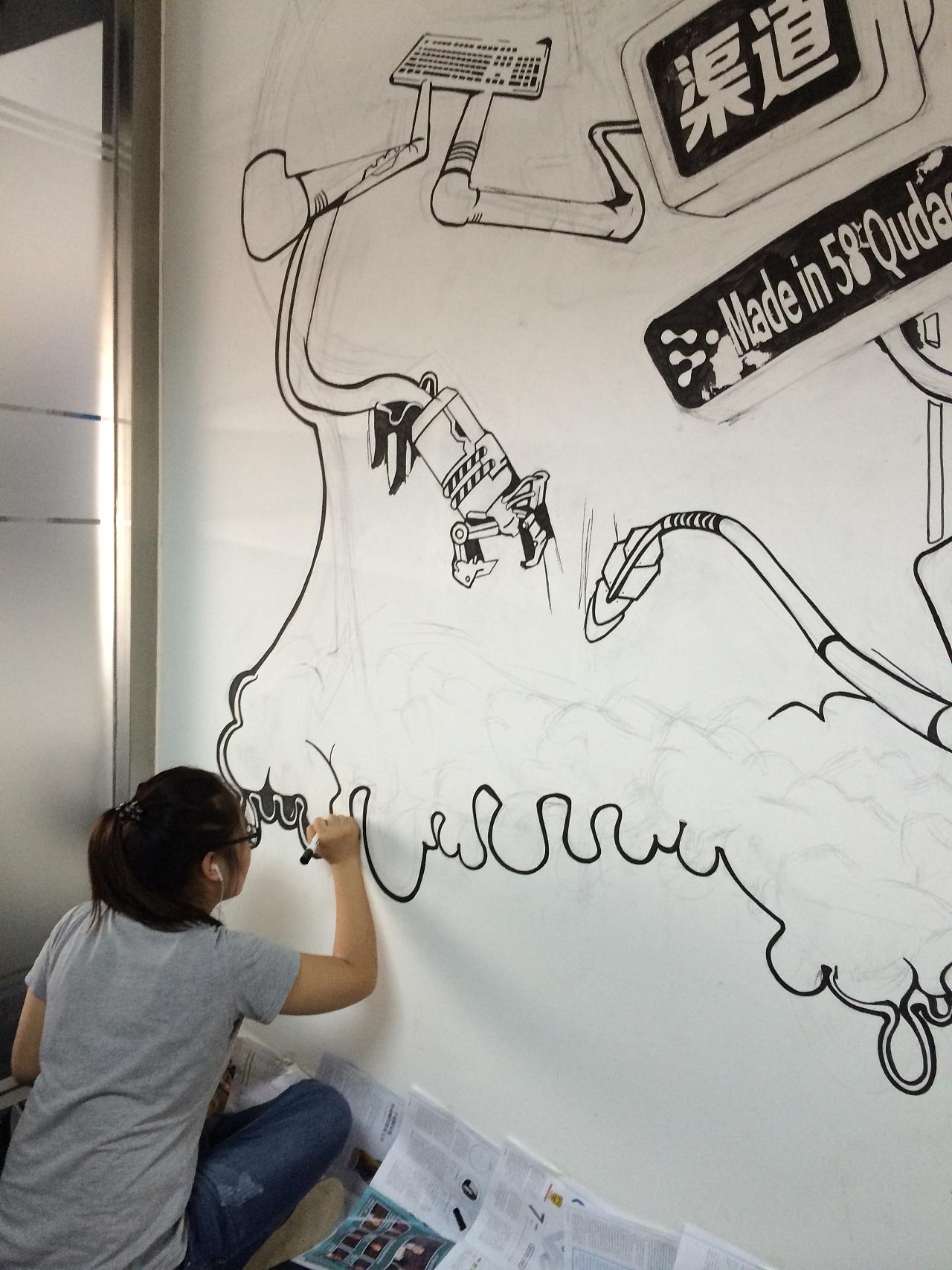 企业文化手绘墙|插画|涂鸦/潮流|生气有毒 - 原创作品