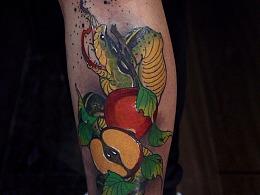 蛇与水果纹身作品