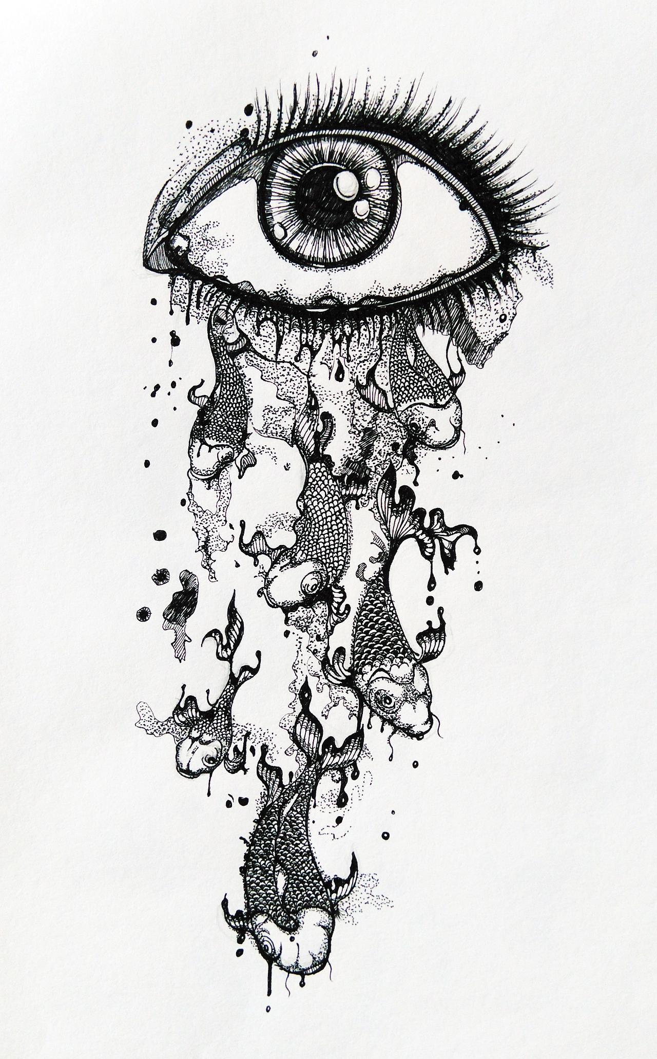 一些黑白手绘-1 插画 插画习作 立体构成 - 原创作品