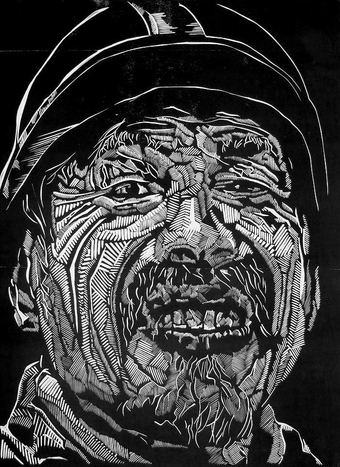 当代民工 黑白木刻版画