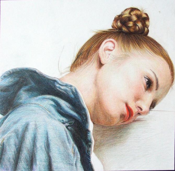 彩色铅笔画的美女