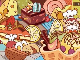 甜品店商业插画