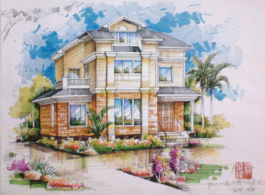 欧式别墅外观手绘效果图|建筑设计|空间/建筑|翁小峰