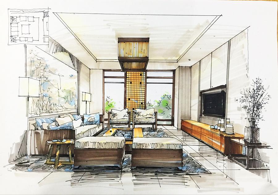 室内手绘线稿临摹图片