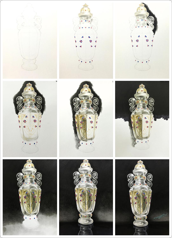 彩铅手绘—错金嵌宝石水晶瓶