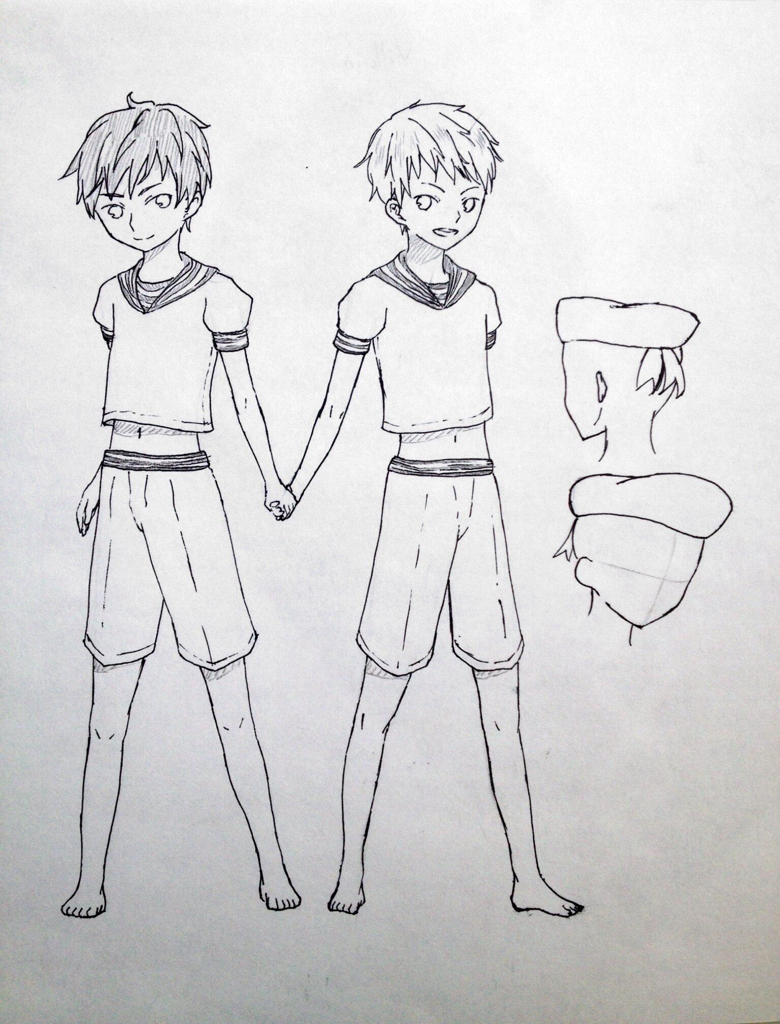 海军海尔兄弟(手绘线稿)