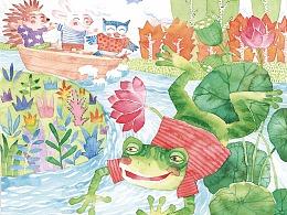 儿童插画水彩画-划船
