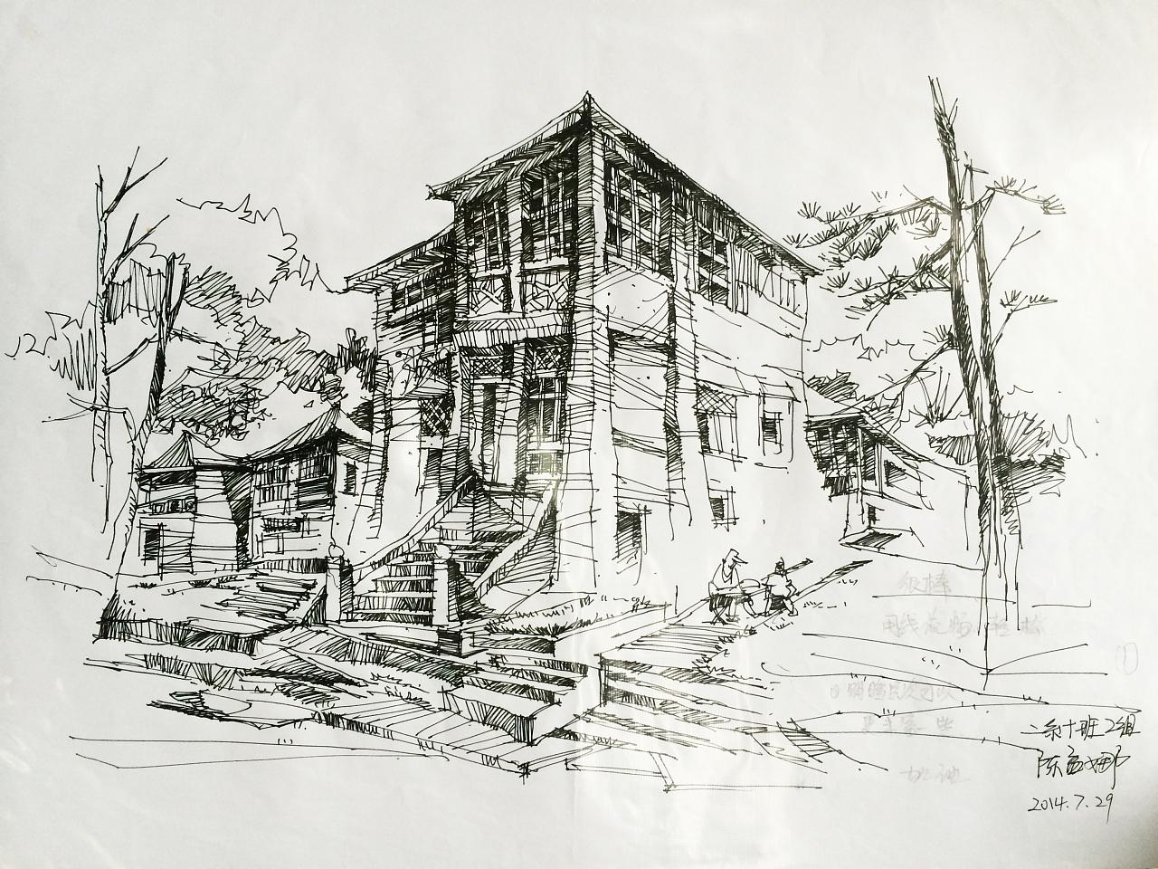 简单的建筑手绘-一点透视建筑-简单的建筑手绘高清图-园林建筑手绘
