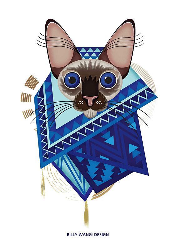 比利王表情_猫系列插画设计#猫图腾/猫之花系列 插画 涂鸦/潮流 王比利 ...