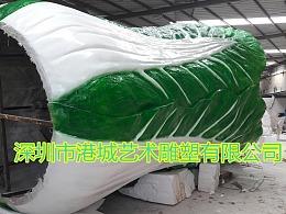 农业观光实体建设仿真蔬菜大白菜玻璃钢雕塑在园区摆放