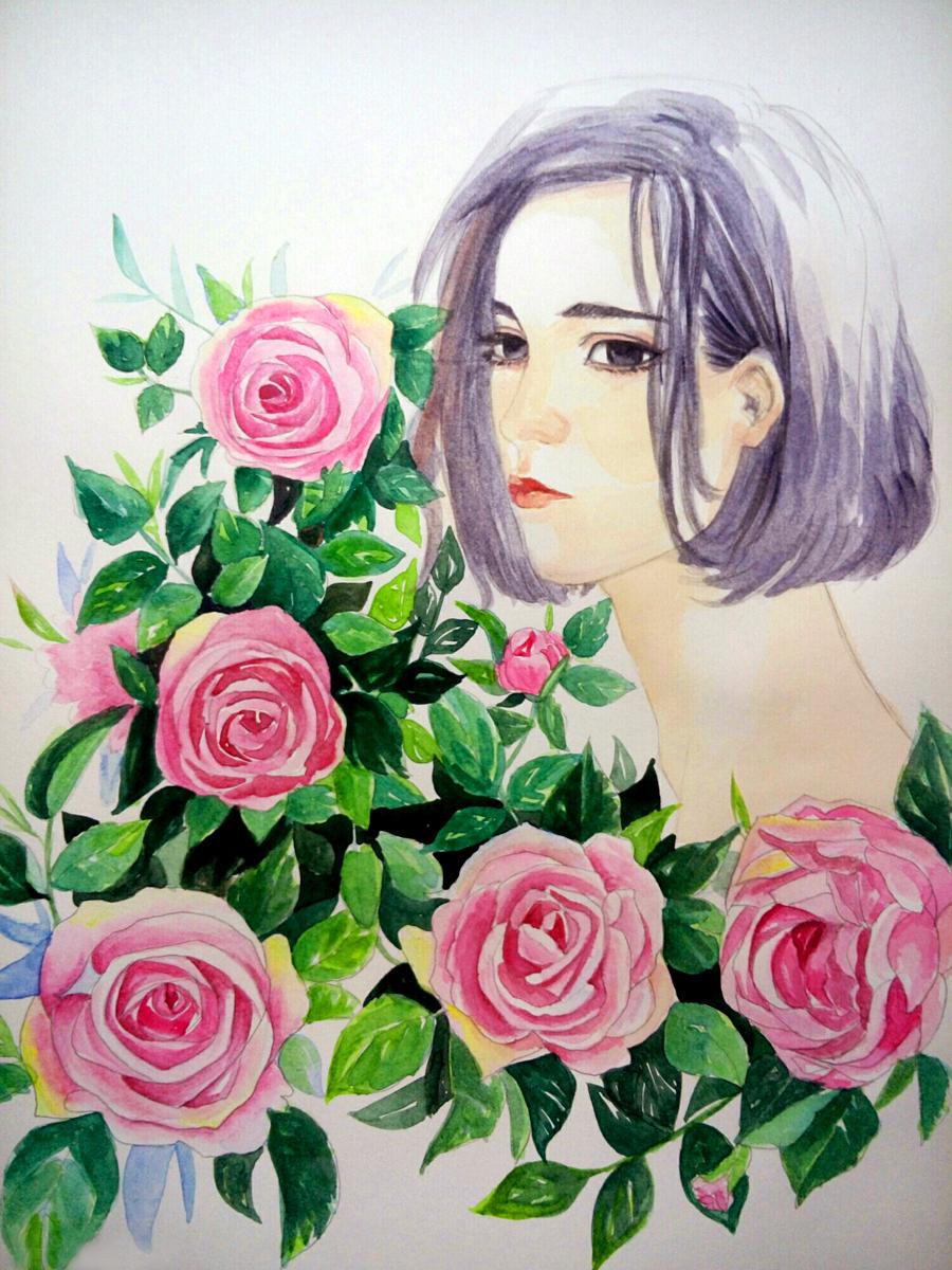 手绘-花儿与少女