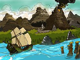 老图上色之帆船