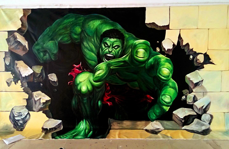 绿巨人3d 壁画 舟可手绘工作室作品