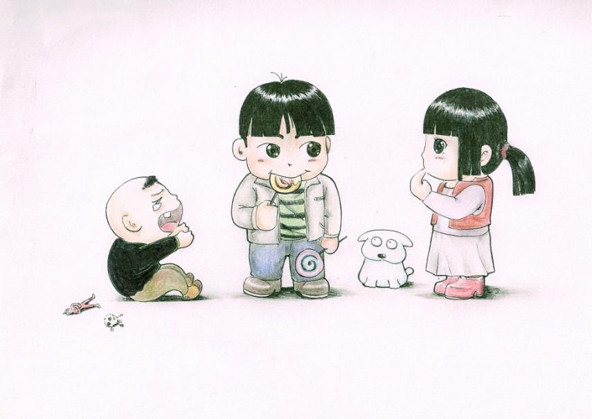 彩铅手绘四格漫画图片