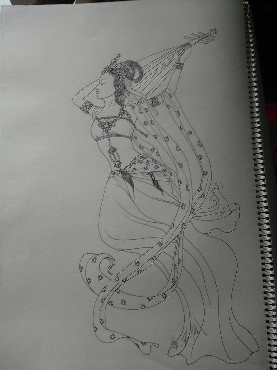古装美女线描