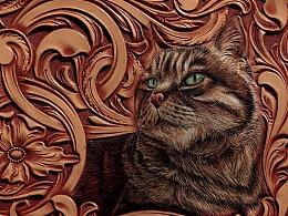 《革也皮雕》永远的观复猫 花肥肥